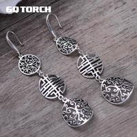 Real 925 Sterling Silver Vintage Long Earrings For Women Hollow Flower Chinese Words Double Happiness Brincos