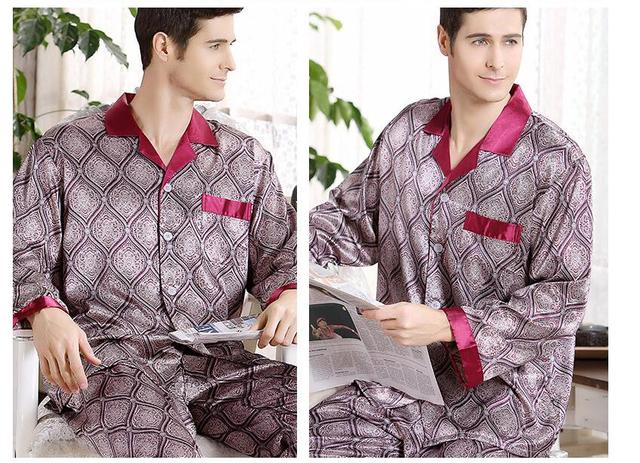 Wholesale spring and autumn silk pajamas men's long sleeved  two sets of thin 2 pieces  Mens sleepwear