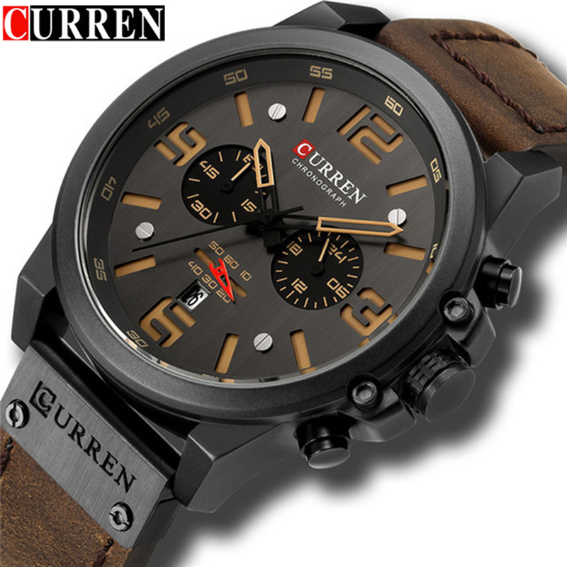 Relogio Masculino Mens Watches Top Brand Luxury Men Military Sport Wristwatch Leather Quartz Watch Clock erkek saat curren 8314
