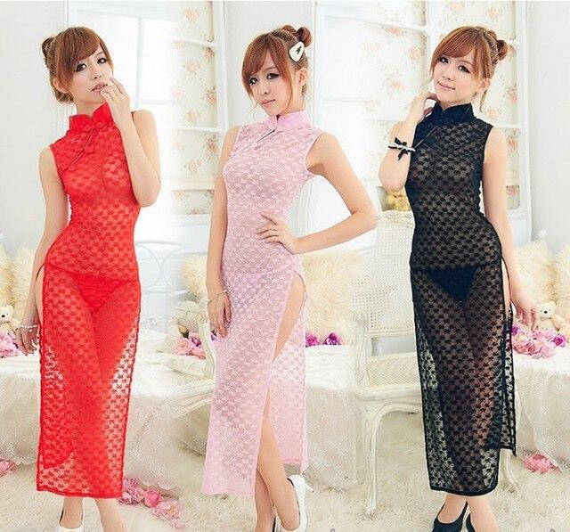 63257398d Taste the cheongsam nightclub PR Sexy Lingerie Sexy cheongsam dress  shooting game wind transparent clothing