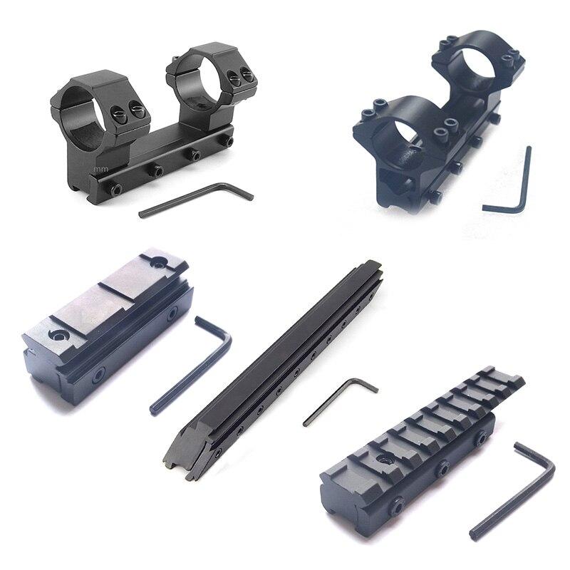 Nova 11mm/20mm Ao Ar Livre Tático Acessórios de Caça Rifle Âmbito Monta 25.4 milímetros/30 milímetros Picatinny Weaver adaptador Rail Base de dados