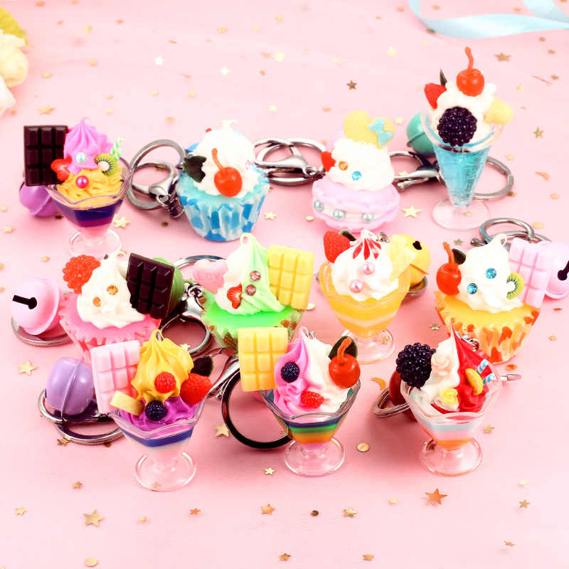 2019 New mini kawaii mix resin food charms necklace donut Cake ice cream pendant for DIY decoration keychain charms