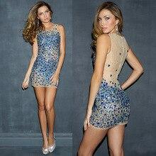 2015 Sexy blue kurze abschlussball kleider 2015 Neues Angebot Mini Kristall prom kleider Tüll Mini Bandage Kleid Für Mädchen Partei Kleid