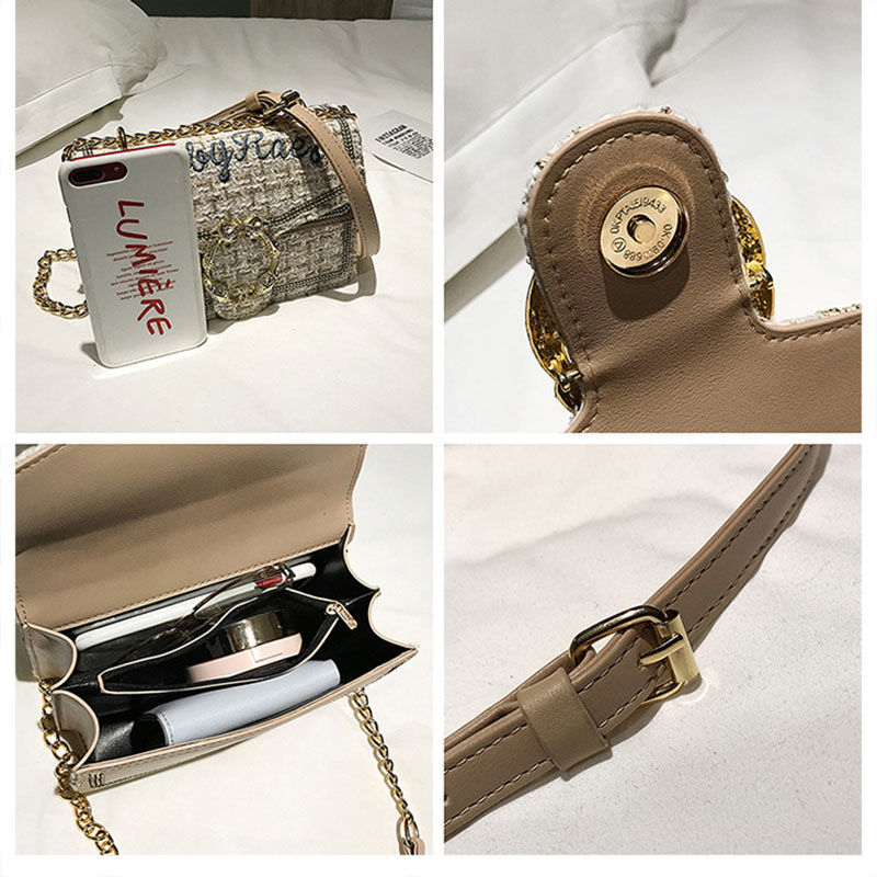 MSGHER Elegant Chains Women bag 2019 Checkered Tweed handbag Sweet Girls  Woolen Satchel bag Pearl Shoulder Messenger Bags Flap-in Top-Handle Bags  from ... 4afa3606b06a