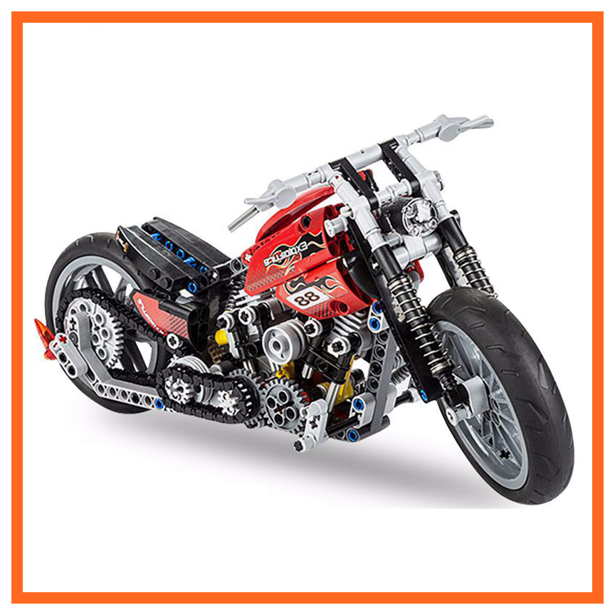 HOT 378Pcs Technic Motorcycle Exploiture Model Harley Vehicle Building Bricks
