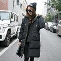 Sudaderas con capucha Negro Grande Más Tamaño Outwear Gruesa Parka Caliente de Gran Tamaño de Piel de Pato Abajo Abrigo de Invierno de Las Mujeres Retro