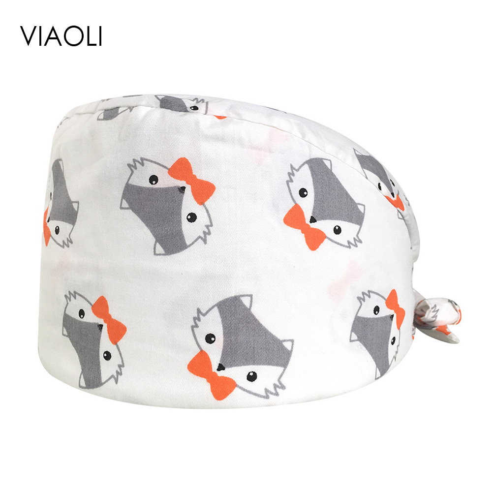 Doctor Nurse Medical Work Caps Breathable Unisex Printed Cotton Operat Room Caps Chemotherapy Work Baotou Dental Beauty Care Cap