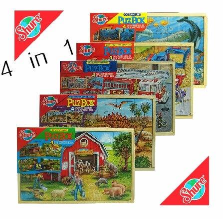 Bébé Jouets 4 En 1 Boîte de Puzzle Enfants Éducatifs En Bois Spécial Puzzle 3D Puzzle 5 Sortes Pour Choisir Le Meilleur Cadeau Pour Les Enfants