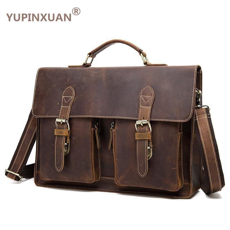 YUPINXUAN Vintage Crazy Horse Briefcases Men Genuine Leather Messenger Bags 14