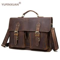 YUPINXUAN Vintage Crazy Horse Briefcases Men Genuine Leather Messenger Bags 14 Laptop Handbags Cow Leather Business