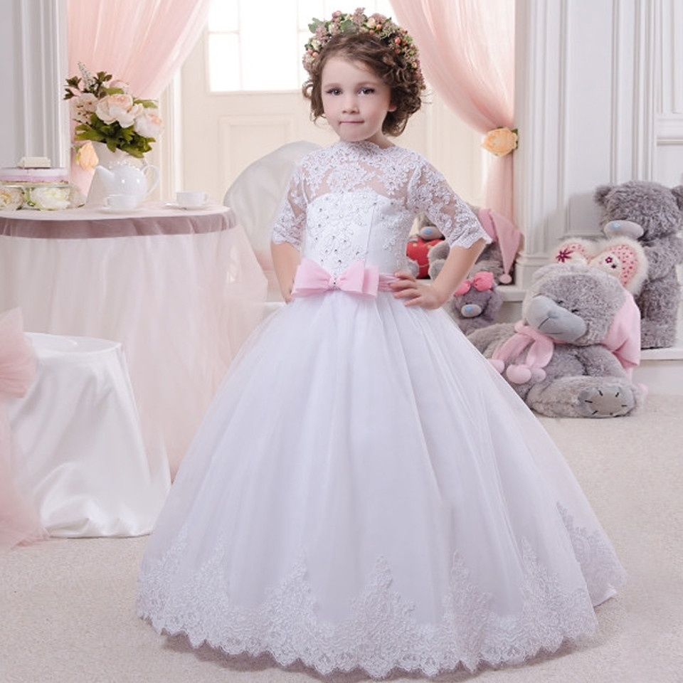 White Romance Lace Flower Girls Dresses for Wedding Key Hole Soft Tulle Ball Gown Half Sleeves Communion Dresses 2-16 Year Old elegant vestido de primera communion romance lace up off the shoulder lace appliques key hole soft tulle ball gown 2 12 year old