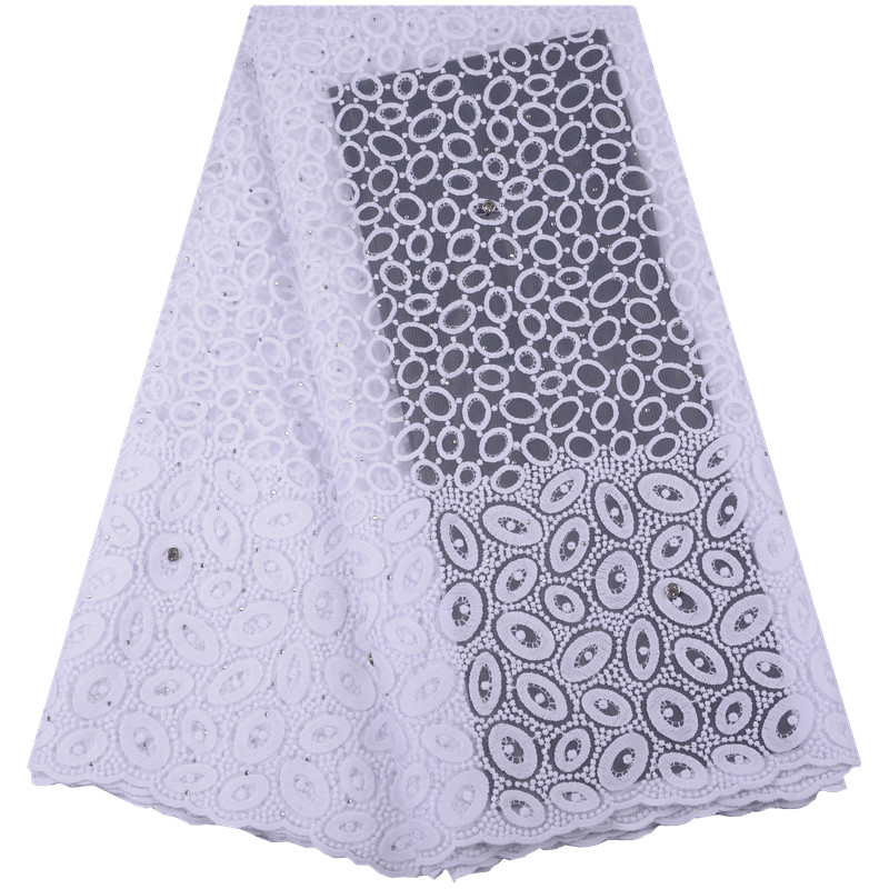 Hot Sale French Lace Fabric Pure White Nigeria Lace Fabric High Quality African Tulle Lace Fabric