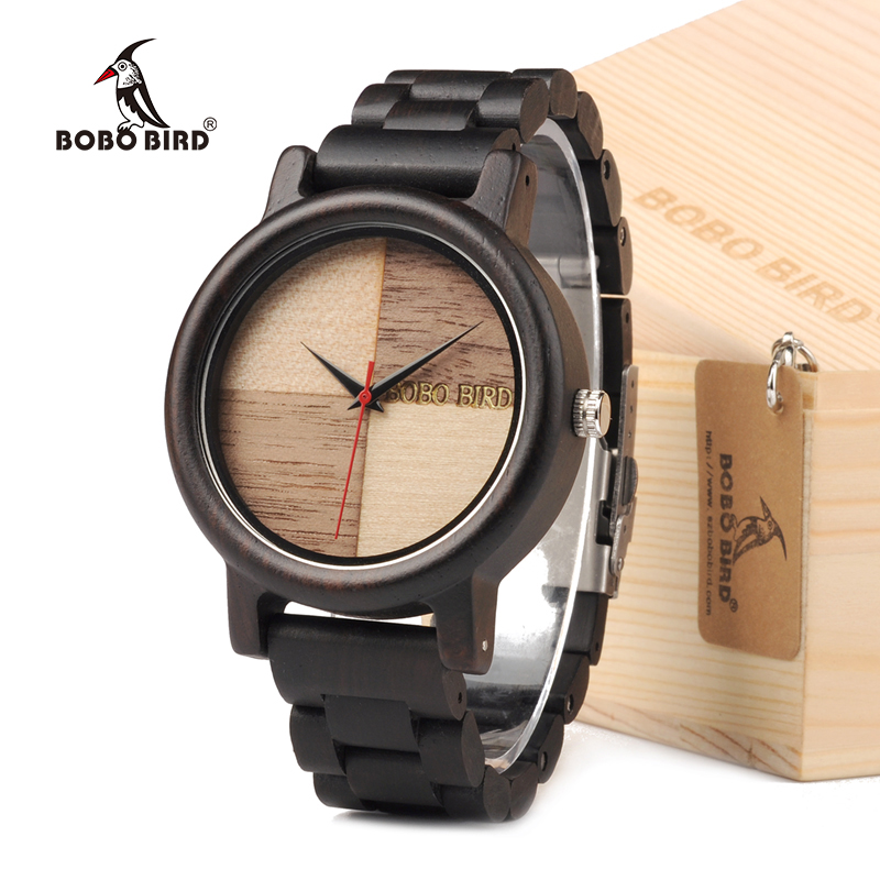 BOBO BIRD N07 Handmade Unique Wood Quartz Men Watch With Ebony Wood band Lightweight For Men Dress Watches With Gift Box bobo bird wh05 brand design classic ebony wooden mens watch full wood strap quartz watches lightweight gift for men in wood box