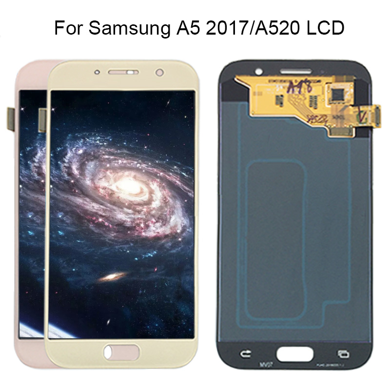 New Super AMOLED A5 2017 A520 A520F SM-A520F 100% Tested Working LCD Display Touch Screen Assembly For Samsung Galaxy A520 lcd