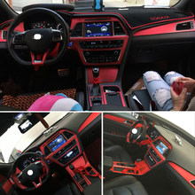 For Hyundai sonata 9 2015-2017 Interior Central Control Panel Door Handle 3 Carbon Fiber Stickers Decals Car styling Accessorie