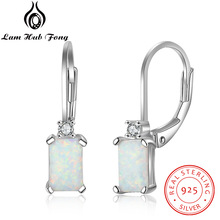 Geometric 925 Sterling Silver Hoop Earrings Rectangular Created White Fire Opal Earrings Fine Jewelry Accessories (Lam Hub Fong)