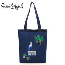 Jiessie & Angela New Women Canvas Denim Tote Large Capacity Brief Handbags Shopping Shoulder Bag Casual Women Bag