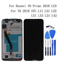 Huawei社Y6 2018 lcdディスプレイタッチスクリーンデジタイザaccessorie Y6プライム2018 ATU L11 L21 L22 LX3とフレーム電話部品