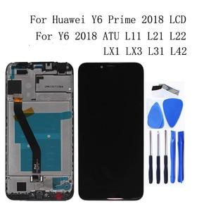 Image 1 - ЖК дисплей для Huawei Y6 2018, сенсорный экран, дигитайзер, аксессуары для Y6 prime 2018 ATU L11 L21 L22 LX3 с рамкой, запчасти для телефонов