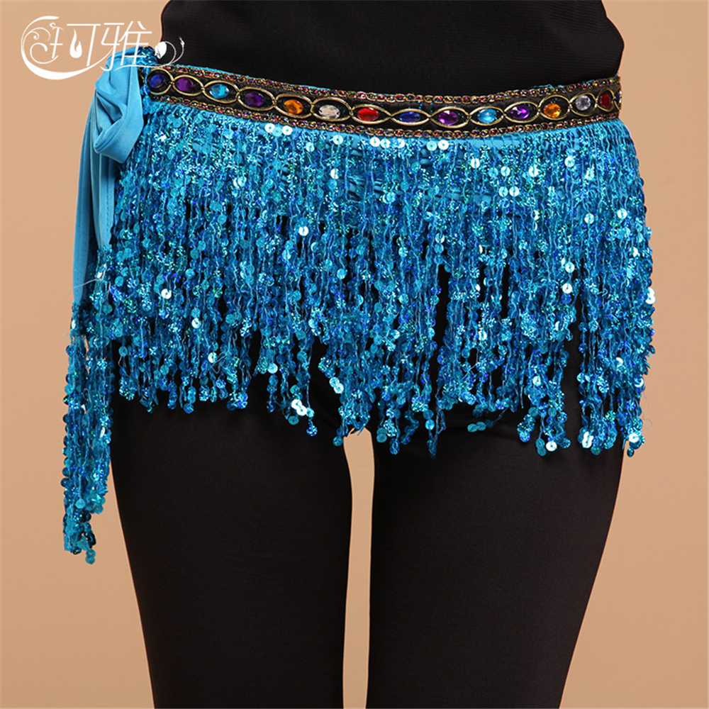 2019 New Belly Dance Chain Gypsy Dancing Waist Egypt Hip Wraps Square Dancing Waist Diamond Sequins Belt