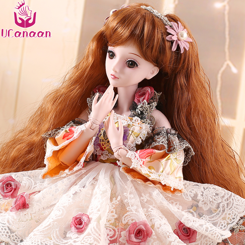 UCanaan 1/3 BJD Doll 19 Joints Body SD Dolls Princess Party Dress Eyes Wig Makeup Dressup With Outfit Dress Toys for Children dolls accessories dreamy party wedding gown dress 1 3 bjd sd dz aod luts dollfie doll clothes sd outfit party clothes
