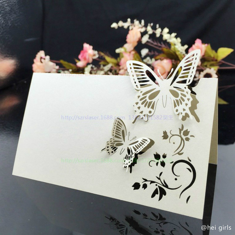 lot hollow butterfly wedding invitations laser table name card wedding