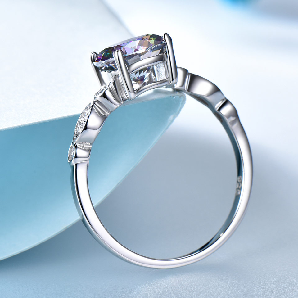 UMCHO Genuine Rainbow Fire Mystic Topaz Rings for Women Genuine 925 Sterling Silver Trendy for Women UMCHO Genuine Rainbow Fire Mystic Topaz Rings for Women Genuine 925 Sterling Silver Trendy for Women Romantic Gift Fine Jewelry