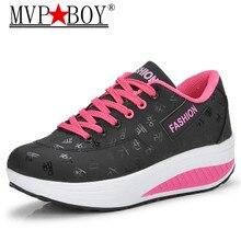 цены MVP BOY Fashion Casual Women Slimming Lady's Fitness Platform Shoes Increasing Trendy Health Beauty Breathable Swing Shoes 35-42