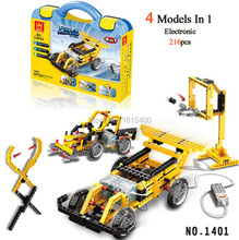 Wange Educational Learning Toys Kids DIY Set Toys Cars Plastic Model Kits Building Bricks Blocks For Boys 4 IN 1 With Motor