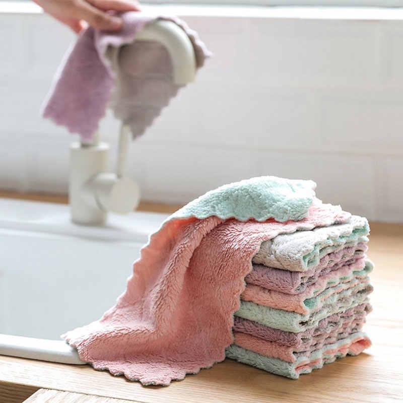 Hộ gia đình Microfiber Siêu Thấm Hút Khăn Vải Khăn Lau Nhà Bếp Dishcloths Món Ăn Vải Vệ Sinh Vải Vụn Cho Món Ăn Giặt Bộ Đồ Ăn