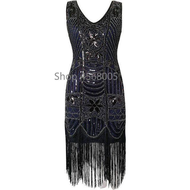 Plus Size Gatsby Flapper Dress Vintage Women 1920s costume V Neck  Sleeveless Fringed Sequin Dress for Party Prom