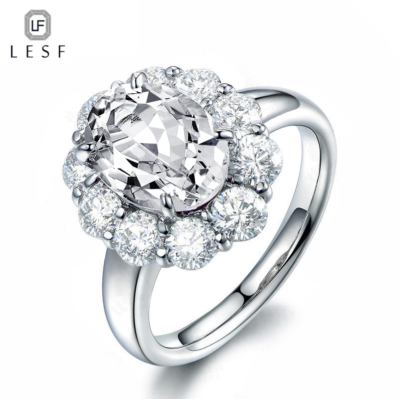 LESF 3 ct Oval Cut Halo Wedding Engagement Ring For Women Trendy Big stone Anniversary Jewelry 925 Sterling Silver Zircon Ring