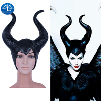 MANLUYUNXIAO Halloween Movie Maleficent Horns Headpiece Mask Women's Angelina Maleficent Latex Mask Masquerade Party Cosplay Cos