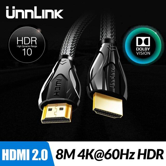 Unnlink длинный HDMI кабель UHD 4K @ 60 Гц HDMI 2,0 HDR 3 м 5 м 8, 10 м, 15 м, 20 м для переключатель делителя PS4 светодиодный ТВ коробка xbox проектор компьютер