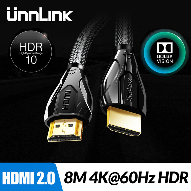 Unnlink Long HDMI Cable UHD 4K@60Hz HDMI 2.0 HDR 3M 5M 8M 10M 15M 20M for Splitter Switch PS4 LED TV Box xbox Projector Computer