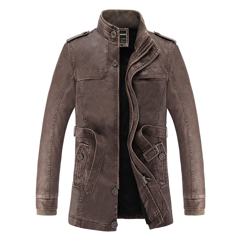 2018 Winter Leather Jacket Men Fax Fur Liner Slim Fit Motercycle Jaqueta De Couro Masculino PU Leather Jacket Bomber Chaqueta ...