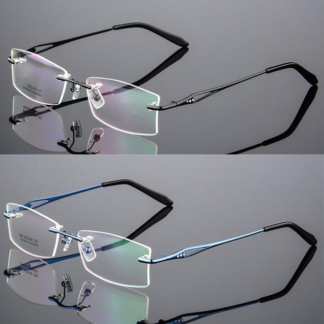 a1243c39cd3d Luxury Diamond Putted Rimless Eyeglass Frames myopia Rx able Memory Titanium  Glasses Spectacles