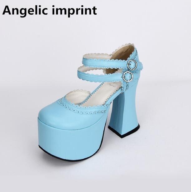 Angelic imprint woman mori girl lolita cosplay shoes lady high heels pumps women Spring summer dress