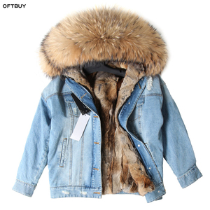 Image 2 - OFTBUY 2020 Winter Jacket Women Real Fur Coat Parka Real raccoon collar Rex Rabbit liner bomber Denim jacket Streetwear fashion