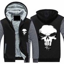 New Winter Jackets Coats The Punisher hoodie skull Hooded Thick Zipper Men cardigan Sweatshirts