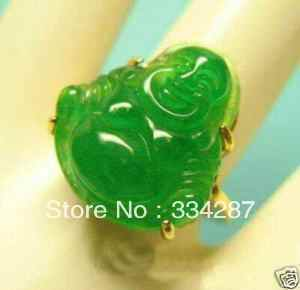 Gold plate สีเขียว jades พระพุทธรูปแหวน 7 8 9 #