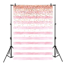 Neoback Bokeh Photo Background Birthday Backdrop Party Backgrounds Supplies Props Shiny Pink and White Stripes Backdrops Studio