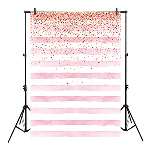 Image 1 - Neoback Bokeh Photo Background Birthday Backdrop Party Backgrounds Supplies Props Shiny Pink and White Stripes Backdrops Studio