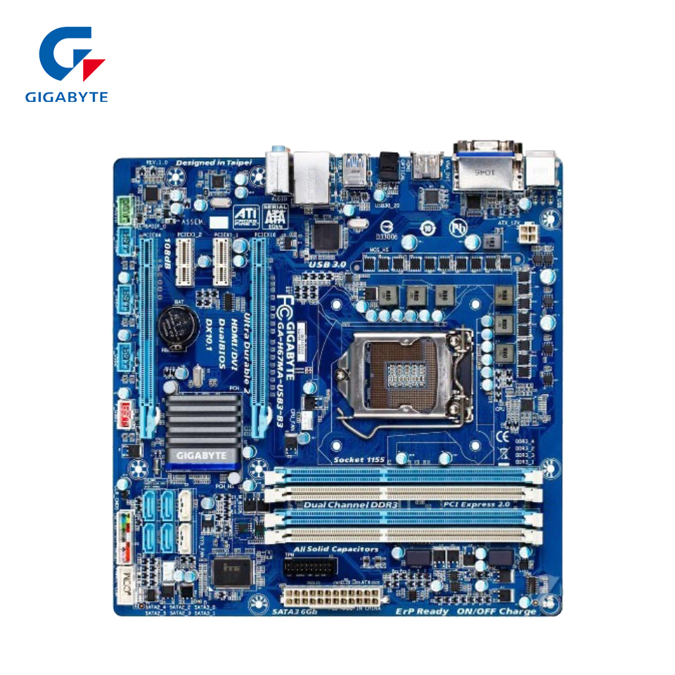 Gigabyte GA-H67MA-USB3-B3 Original Used Desktop Motherboard H67MA-USB3-B3 H67 LGA 1155 i3 i5 i7 DDR3 32G gigabyte ga p67a ud3r b3 original desktop motherboard ddr3 lga1155 4 channels 32gb p67a ud3r b3 p67 motherboard free shipping