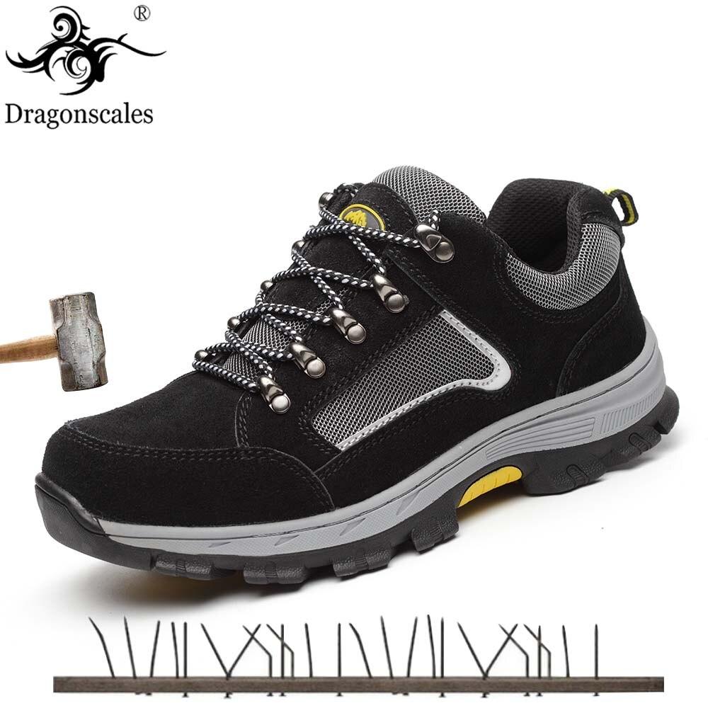 Energisch Dragonscales Mode Männer Winter Sicherheits Schuhe Stahl Kappe Stiefel Schnee Plüsch Innen Gleitschutz Unten Warm Halten Arbeit Stiefel Größe 35 -46