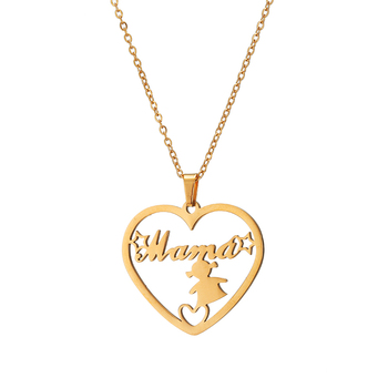 Personalized Name Letters MAMA Abuela Hollow Heart Pendant Gold Color Steel Chain Necklace Family Love Mother Jewelry Gift image