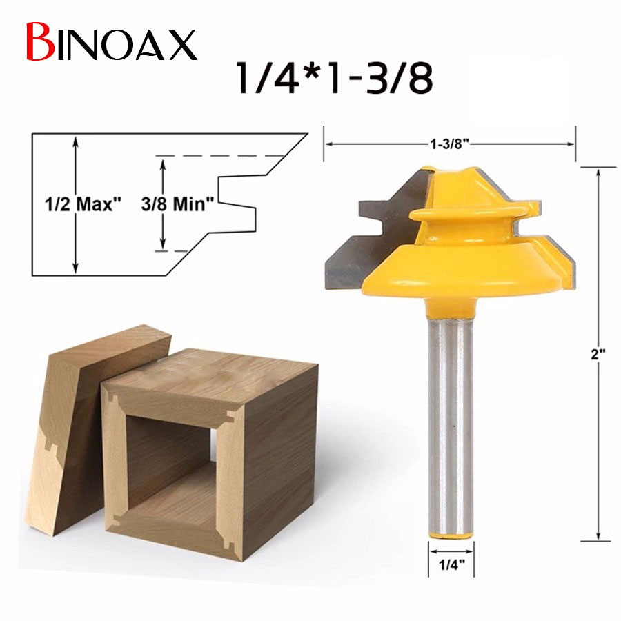 Binoax 1/4*1-3/8 2 Bit Tongue and Groove Router Bit Set Woodwork Cutter Power Tools -1/4