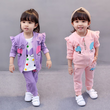 Dapchild Autumn Baby Clothes Set Coat Pants long sleeve Shirt 3 pcs Tracksuit For Girl Pink Purple Color With Cartoon Pattern