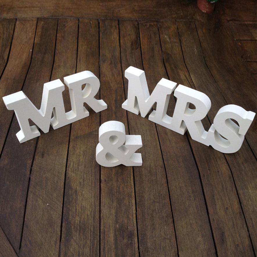 Комплект из 3 предметов Свадебные Аксессуары Mr & Mrs Mariage Декор День рождения Аксессуары белые буквы свадьба знак прописные и строчные