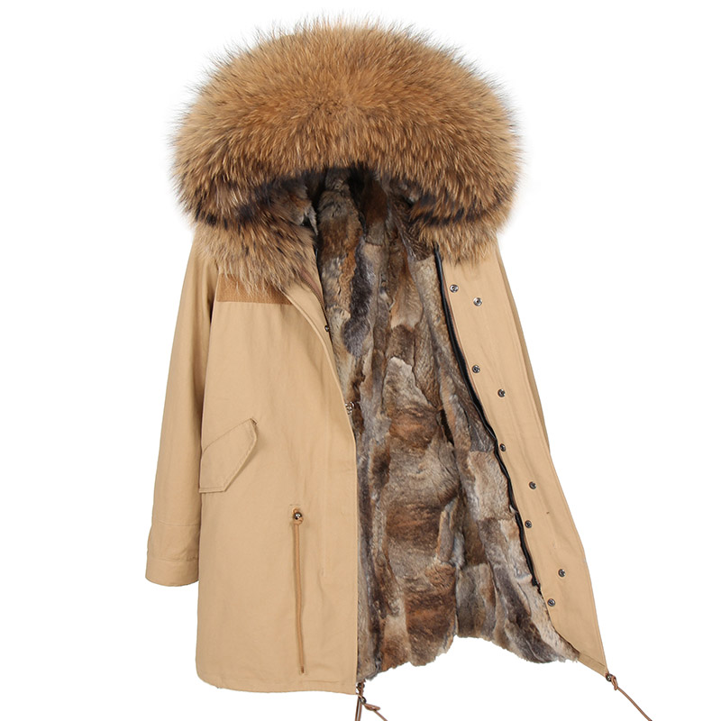 MaoMaoKong New high Fashion Women's Long parka large real racoon fur Hooded Coat Outwear natural color Military Winter Jacket